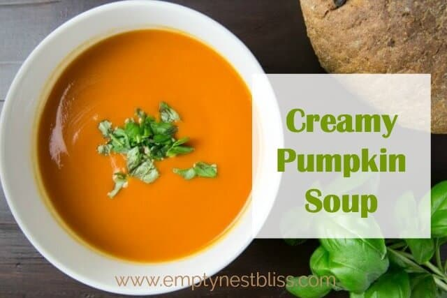 YUM! This Easy Creamy Pumpkin Soup is just the ticket for a cool fall night! I love this with a loaf of crusty french bread.