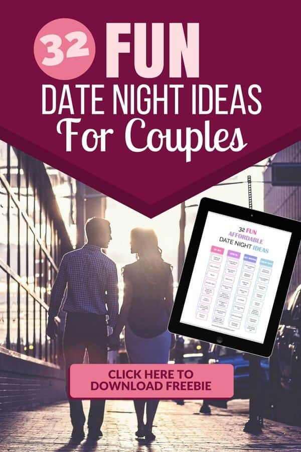 Fun date night ideas for married couples. Plus a printable bonus list of date night ideas.