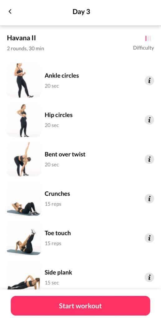 Dofasting screen shot of exercises.