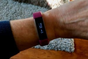 My Fitbit with my favorite walking companion in the background!