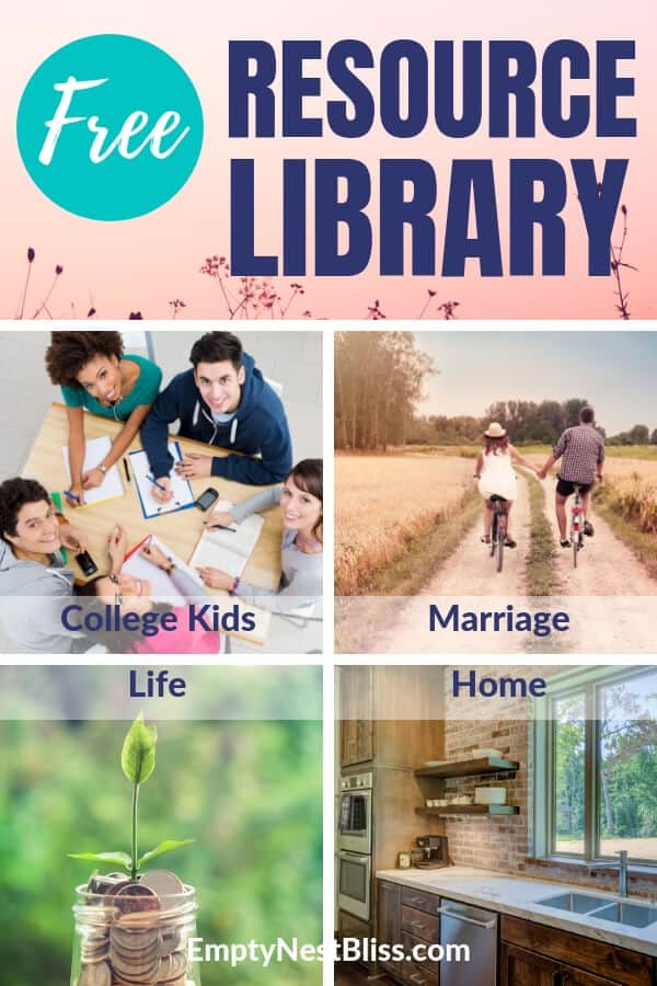 Free Resource LIbrary for Midlifers: Marriage, College Students, Home and LIfe.