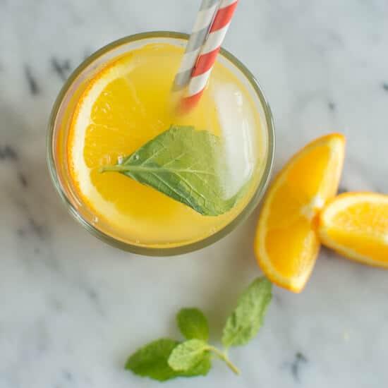 Orange mint coconut water detox recipe