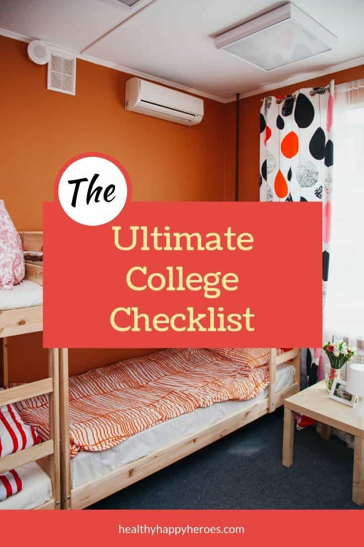 Photo of a dorm room with orange walls with bunk beds with text that says ultimate college packing list.