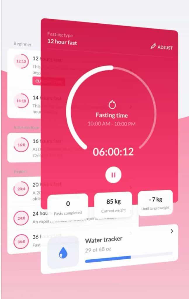 Screen shot of the DoFasting app.