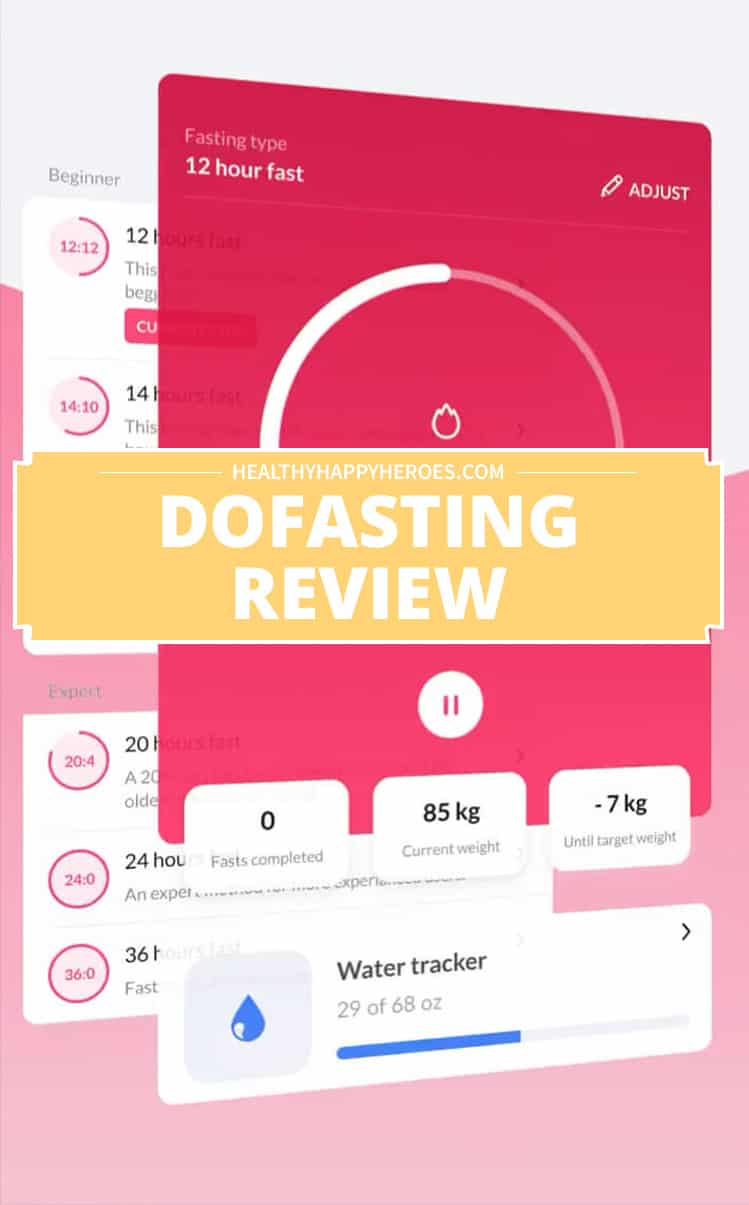 """Screen shot of dofasting app with """"dofasting review"""" written across in white letters on a yellow background"""