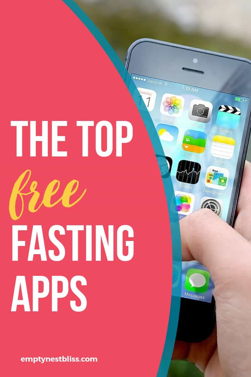 Image of an iPhone with text saying the top free fasting apps