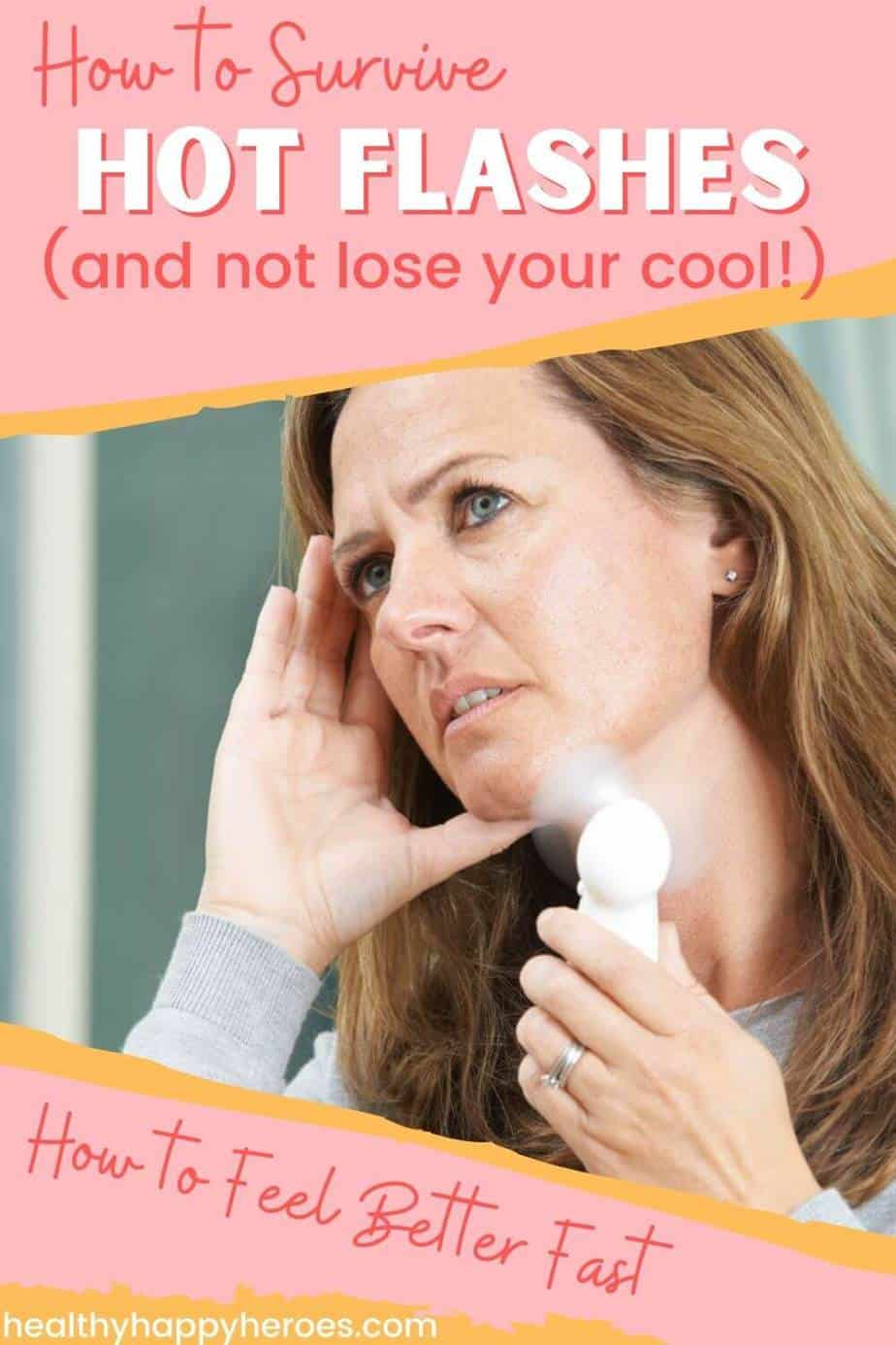 woman with a fan fighting hot flashes