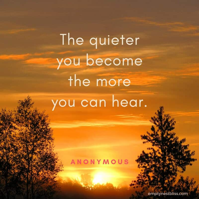 quote:  The quieter you become, the more you can hear.  by anonymous.  Setting sun on orange sky with silhouettes of trees.