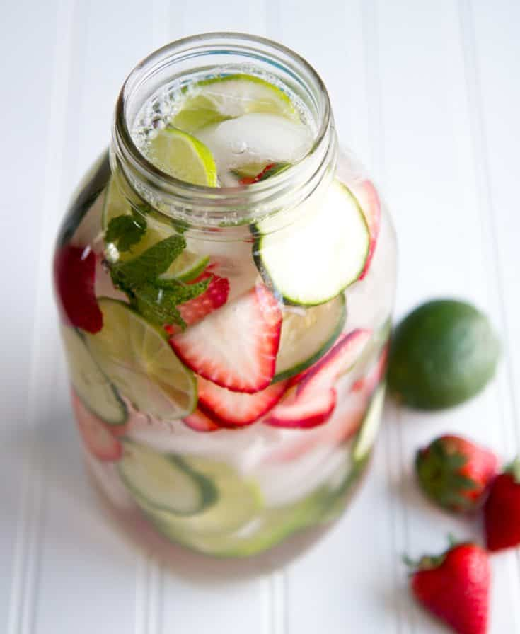 Strawberry, Lime, and Mint Infused Water
