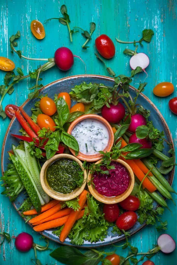 Plate of veggies.