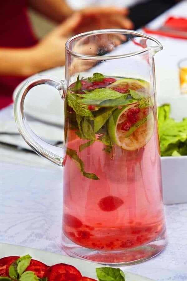 Raspberry and Mint Infused Water